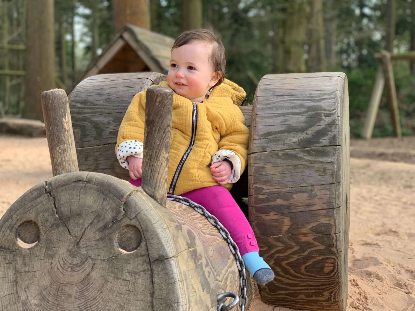 B sitting on a large wooden snail.
