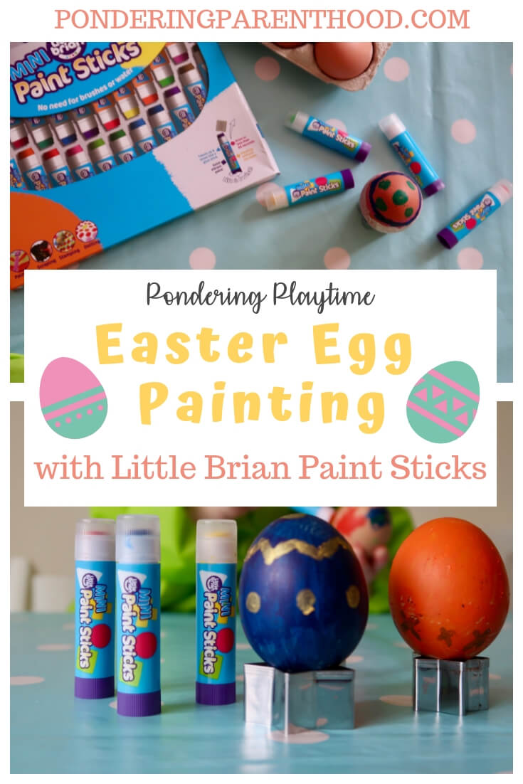 Looking for fun and easy Easter activities for toddlers? Try this stress-free, no-mess Easter egg decorating using boiled eggs and paint sticks.